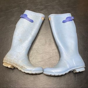 Hunter Baby Blue Tall Rain Boots Size 8